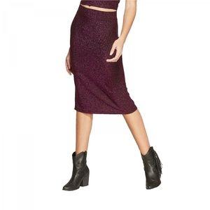 NWT Wild Fable Metallic Midi Skirt Small Pink